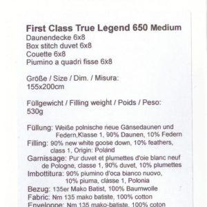 Одеяло пуховое стеганое TRUE LEGEND 650 MEDIUM