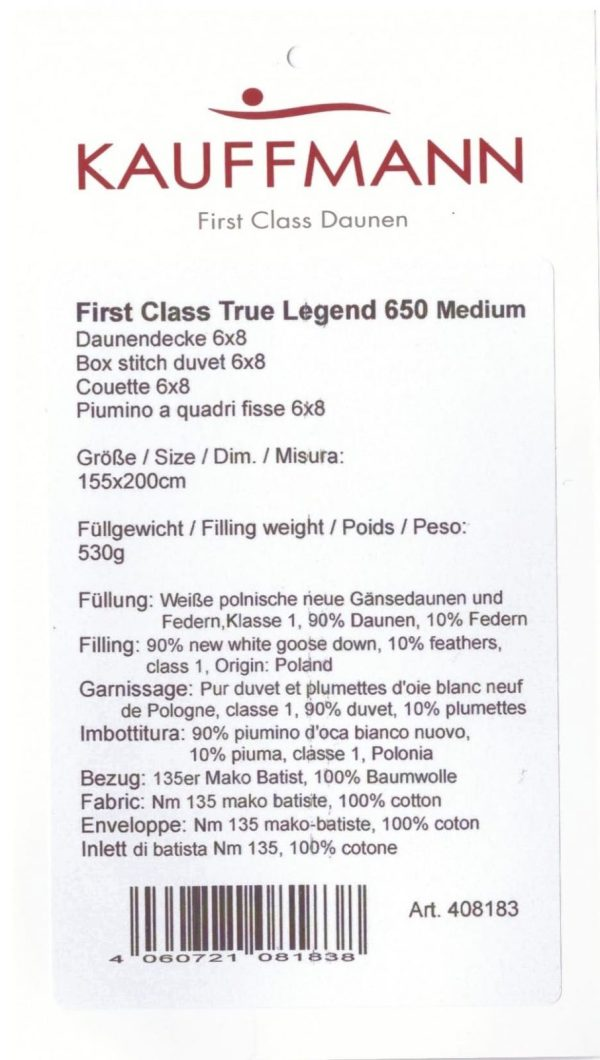 Kauffmann 408183 1 Одеяло пуховое стеганое TRUE LEGEND 650 MEDIUM