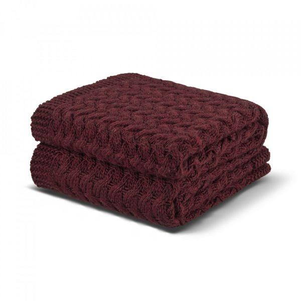 estiva knitted throw deep carmine